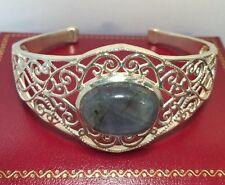 Sterling Silver Moonstone Filigree Artisan Bali India Cuff Bangle 925 Bracelet 7
