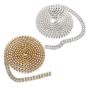 Double Row Crystal Rhinestone Close Chain Belt Bouquet Decor Trims 1 Yard