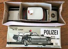 Vintage Ichiko Friction Polizei Cadillac Tin Toy Car Friction Powered Light NIB