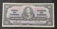 Canada 1937 Gordon Towers BC-24b $10.00 Banknote SD 1177282