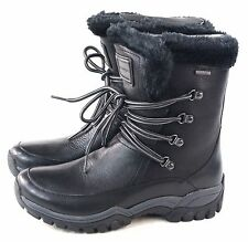 Rockport Womens Finna Fur Waterproof Snow Mid Boot Black Leather Size 5 M