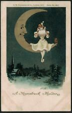 """POSTCARD, GREETINGS, """"A MOONSTRUCK MAIDEN"""", OWL, MOON FACE, MAN IN THE MOON."""