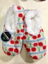 Snoozies slippers, Red Cherries women's sz L 9-10 Non-skid, NEW Fleece