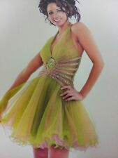 Precious Formals Pink Green Short Prom dress size 0 .