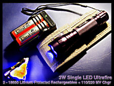 Ultrafire 3W UV Dark Field LED Mineral/Medical Light w/2X16340 Lithium+chgr+case
