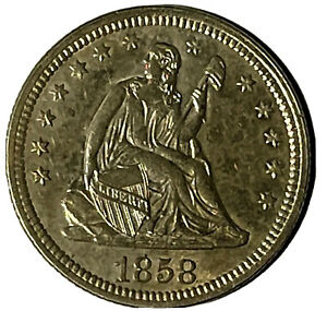 1858 Seated Liberty Quarter, Choice AU, Uncertified