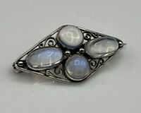 Superb Quality Edwardian Solid Sterling Silver & Moonstone Brooch
