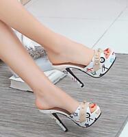 Women Peep Toe High Stiletto Heels Slipper Shoes Sandals Slip On Plus Size C823