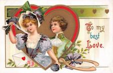 VALENTINE HOLIDAY ROMANTIC COUPLE LETTER EMBOSSED POSTCARD 1080 (c. 1909)