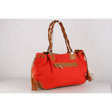 Authentic Fratelli Rossetti Red Canvas Tote Shoulder Bag with Tassels