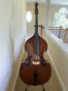 3/4 Acoustic Upright Double Bass +Case+Bow (USED ONLY SEVERAL TIMES)