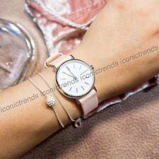 NWT 🌸 Skagen SKW2695 Signature Slim Blush Pink Beige Nubuck Leather 30mm Watch