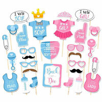30PC Set Baby Shower Gender Reveal Party Supplies Boy or Girl Photo Booth Props