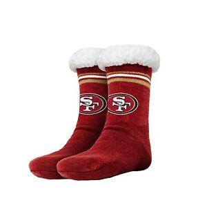 San Francisco 49ers Women's Stripe Logo Tall Footy Slippers - Size 6-10 Non Skid