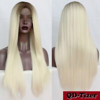 Ombre Brown Blonde Synthetic Lace Front Wigs Natural Hairline Heat Resisant Soft