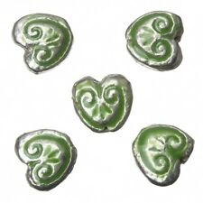 Enamelled Heart Green Pattern Metal Beads 15mm Pack of 5 (A94/8)