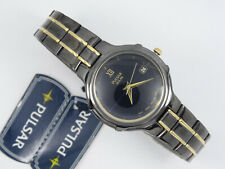 RARE PULSAR SOLAR LADIES GUN METAL CALENDAR WATCH * WORKING * NEW WITH TAG $195