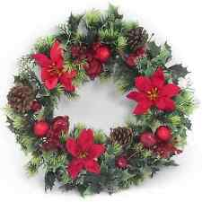 40cm plastic holly u0026 poinsettia christmas wreath artificial 4 designs variegated holly with snow
