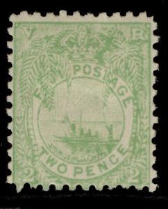FIJI QV SG89a, 2d emerald-green, M MINT. Cat £12. PERF 11