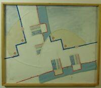 Abstrake Komposition Stoffcollage, genäht und mit Farbe überarbeitet, signiert