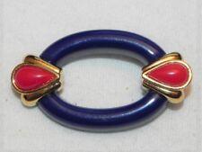 Vintage Navy Blue Oval Pin Red Teardrop Gold Tone Brooch