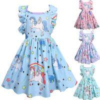 Kids Girls Unicorn Cartoon Backless Ruffles Party Princess Pageant Tutu Dress