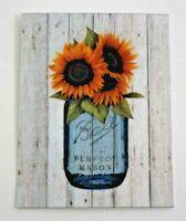 Fridge Magnet Sunflowers in Blue Mason Jar Farmhouse Sunflowers Collectible