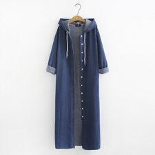 Plus Size Women Hooded Coat Jacket Denim Outwear Sweatshirt Long Maxi Dress Coat