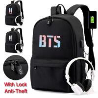 Anti-Theft Kpop BTS Bangtan Boy Backpack Unisex Schoolbag Laptop Travel Book Bag