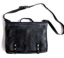 NEW IL BISONTE  W.A.DI.FILIPPO BLACK LEATHER BAG BRIEFCASE MADE IN ITALY W /BAG