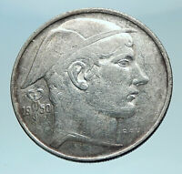 1950 BELGIUM with MERCURY Hermes Antique Silver 20 Francs Belgian Coin i78587