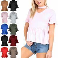 Womens Ladies Choker Neck V Plunge Peplum Ruffle Frill Short Sleeve T Shirt Top