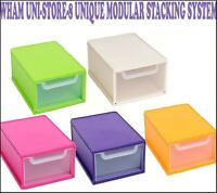 DRAWER MODULER STACKING SYSTEM UNI STORAGE OFFICE HOME SHOES BOX TIDY PLASTIC