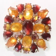Brooch Pin - Signed LC Le Chateau - Flower - Yellow Maroon & AB Rhinestones
