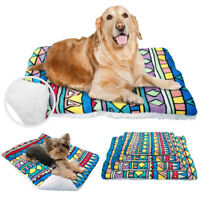 Soft Fleece Reversible Cat Dog Bed Mat Blanket Washable Dog Crate Cover Kennel