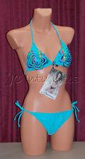 Sexy 2 pc Anisea String Bikini Swimsuit-Blue w/Metallic Print(M)