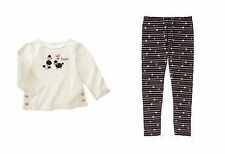 NWT GYMBOREE TRES CHIC POODLE TEE TOP BLACK HEART STRIPE LEGGINGS OUTFIT 3 3T NE