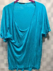 TAHARI Teal Blue Shirt Top Women's Size L