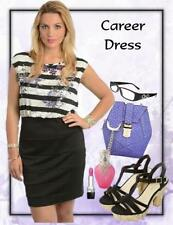 Polyester Wear to Work Striped Dresses for Women