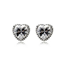 PRETTY ITALINA 18K WHITE GOLD PLATED GENUINE CUBIC ZIRCONIA HEART STUD EARRINGS