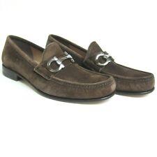 P-1036239 New Salvatore Ferragamo Bond Brown Suede Slip-on Shoe Size US 10.5D