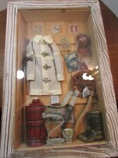 Vtg Fireman shadow box 22 X 14 Fire Ext,Jacket, Boots,Hose,Pictures