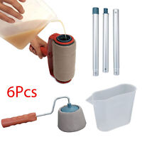 6 PCS Paint Roller Brush Set Runner Pro Handle Household Use Wall Edger Painting