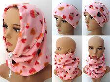 Pink Redecilla Para Damas Niñas Taza Calentador De Cuello Polar Pasteles Corazones Bufanda capucha Sombrero De Esquí