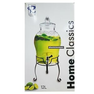 12L Royal Dine Sexy Glass Jar Juice Dispenser with Metal Stand