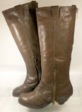 ASH Time Brown Pebbled Leather Cuffed Zip Equestrian Boot US 7 EU 37 MinimalWear