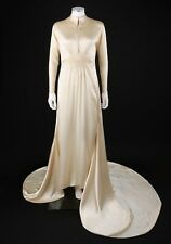 Vtg Couture c.1940's Ivory Silk Satin Long Sleeve Wedding Dress Gown w/ Train Xs