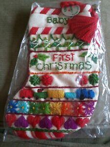 Vtg Jiffy Stitchery Babys Sampler Stocking Christmas Kit 190 MCM 1978 Finished