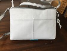 New Womens Fossil Brand Leather Crossbody Handbag/Purse Gray Color NWT $128