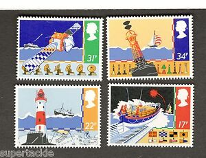 1985 Great Britain SC #1107-1110 SAFETY AT SEA stamps Lighthouse Buoy Life-raft